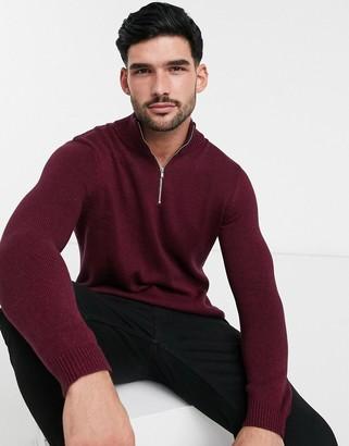 ASOS DESIGN midweight cotton half zip jumper in burgundy twist