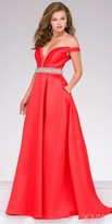 Jovani Off the Shoulder Box Pleated Evening Dress
