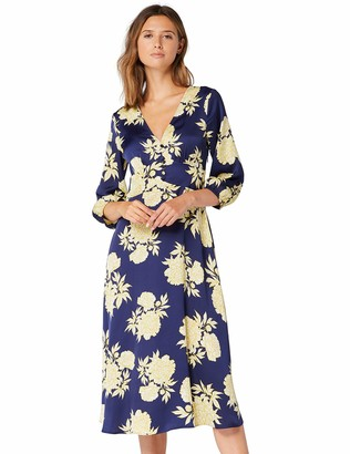 Amazon Brand - TRUTH & FABLE Women's Midi Floral A-Line Dress