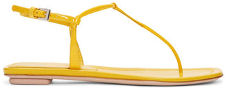Prada Yellow Patent T-Strap Sandals