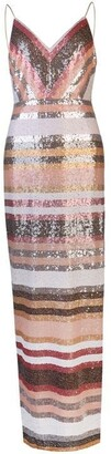 Adrianna Papell Stripe Sequin Dress