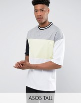 Asos TALL Oversized T-Shirt With Neon Color Blocking & Mis-Match Sleeves