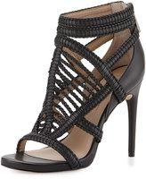 BCBGMAXAZRIA Dori Braided Leather Sandal, Black