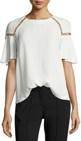 A.L.C. Sheila Short-Sleeve Top w/ Ring Trim