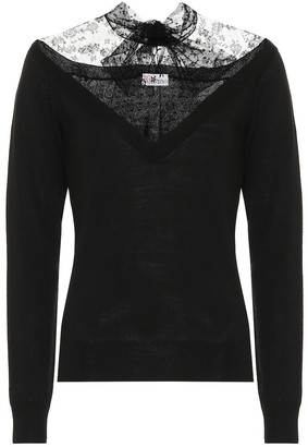 RED Valentino Lace-trimmed wool sweater