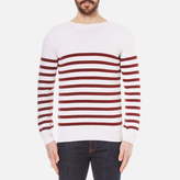 A.P.C. Men's Pull Lord Stripe Knitted Jumper Blanc Casse