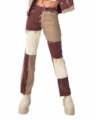 HONGBI Women's Patchwork Mid Waist Jeans Distressed Straight Denim Pants Color Block Pencil Denim Pants Coffee S
