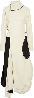 Acne Studios Dragica Open-back Asymmetric Paneled Linen-blend Midi Dress
