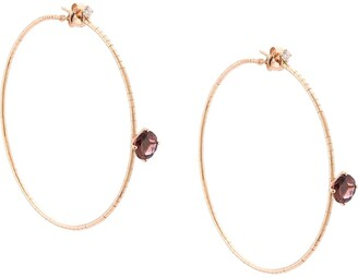 Mattia Cielo 18kt Rose Gold, Diamond And Amethyst Hoops