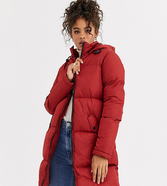 Brave Soul Tall cello long puffer jacket-Brown