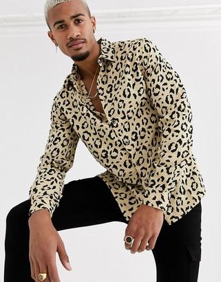 Asos Design DESIGN regular fit animal print shirt-Brown