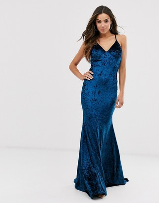 Club L London velvet cross back fishtail maxi dress