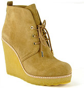 Tory Burch - Denise - Tan Suede Crepe Tie Wedge Bootie