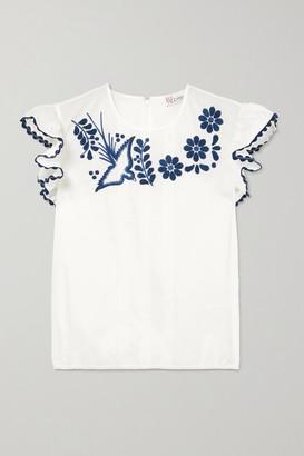 RED Valentino Lace-trimmed Embroidered Cotton Blouse - White