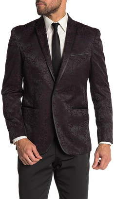 Kenneth Cole Reaction Burgundy Floral Two Button Slim Fit Evening Jacket