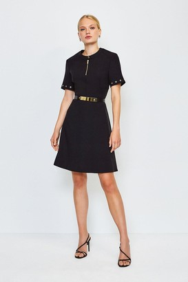 Karen Millen Belted Eyelet Detail Short Sleeve A-Line Dress