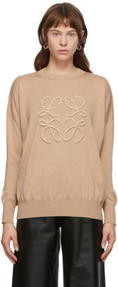 Loewe Beige Embroidered Anagram Sweater