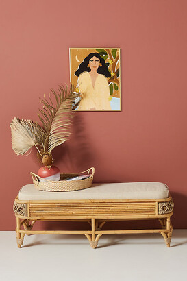 Anthropologie Marigny Rattan Bench By in Beige Size ALL