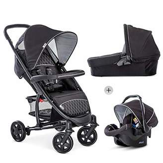 Hauck Malibu 4 Trio Set 3 in 1 Pushchair Set up to 18 kg with Group 0 Car Seat + Carrycot with Mattress from Birth, Large Seat with Lying Function, Large Basket, Compact Folding - Black Silver