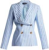 ANNA OCTOBER Asymmetric double-breast linen blazer