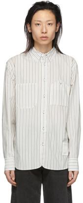 Rag & Bone White and Navy Stripe Levine Shirt