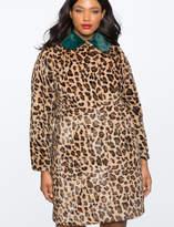 Leopard Coat with Fur Collar