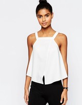 Asos Thick Strap High Neck Cami Top With Wrap Front in Crepe