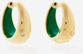 Yvonne Léon Diamond & 9kt Gold Hoop Earrings - Green Gold