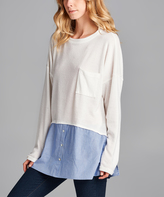 Ivory & Blue Color Block Top