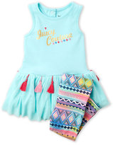 juicy couture (Infant Girls) Two-Piece Peplum Top & Printed Leggings Set