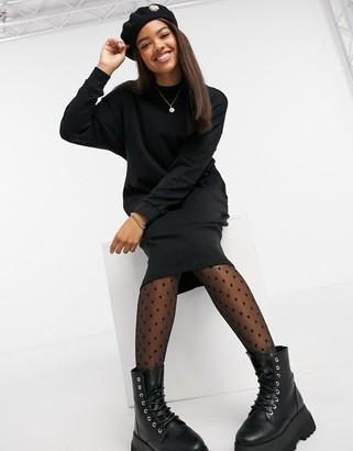 Monki Mindy organic cotton midi jumper dress in black
