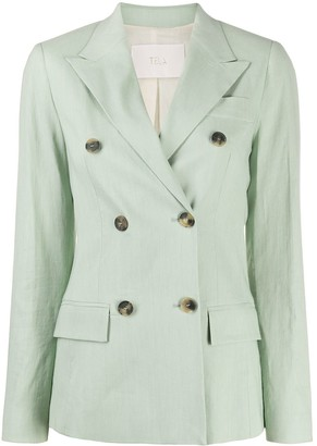 Tela Double-Breasted Fitted Blazer