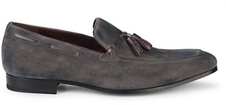Mezlan Leather-Trimmed Suede Loafers