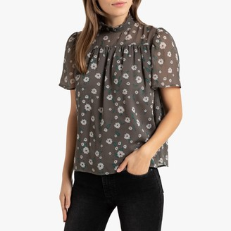 La Redoute Collections Floral Print Blouse with High Neck and Short Puff Sleeves