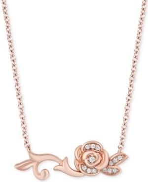 "Enchanted Disney Fine Jewelry Enchanted Disney Diamond Rose Belle 18"" Pendant Necklace (1/10 ct. t.w.) in 14k Rose Gold"