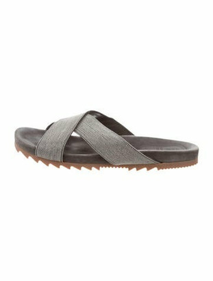 Brunello Cucinelli Monili Embellished Slide Sandals Grey