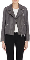 Barneys New York Women's Lambskin Moto Jacket-DARK GREY