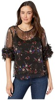 Vince Camuto Ruffle Sleeve Country Bouquet Blouse (Rich Black) Women's Clothing