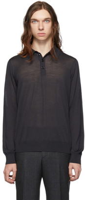 Giorgio Armani Grey Wool Long Sleeve Polo