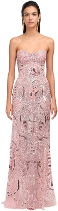 ZUHAIR MURAD Embellished Lace Strapless Mermaid Dress