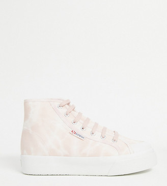 Superga exclusive 2295 flatform hightop trainers in pink tie dye