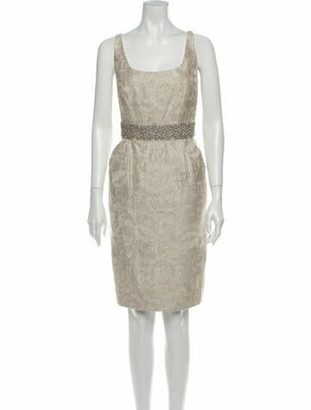 Carmen Marc Valvo Square Neckline Knee-Length Dress w/ Tags Gold