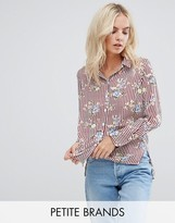 New Look Petite Floral Striped Shirt