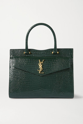 Saint Laurent Uptown Medium Croc-effect Leather Tote - Green