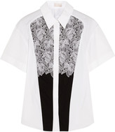 Peter Pilotto Cate lace-paneled cotton shirt