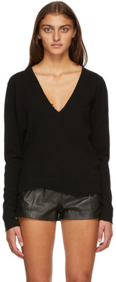 Saint Laurent Black Cashmere Destroyed V-Neck Sweater