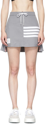 Thom Browne Grey Flyweight Pleated Back 4-Bar Miniskirt