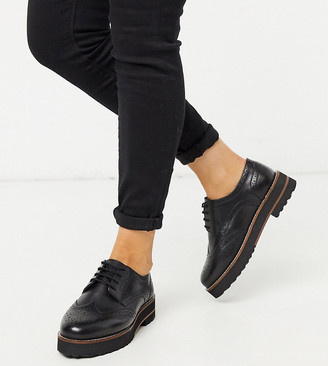 ASOS DESIGN Wide Fit Mottle leather flat brogues in black