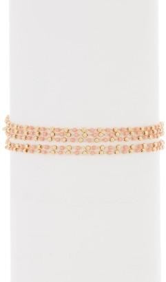 Panacea Peach Crystal Bead Multi-Row Bracelet