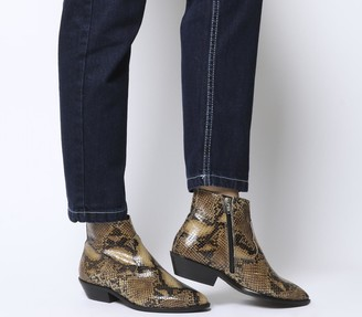 Office Addition Low Cut Western Boots Snake Leather